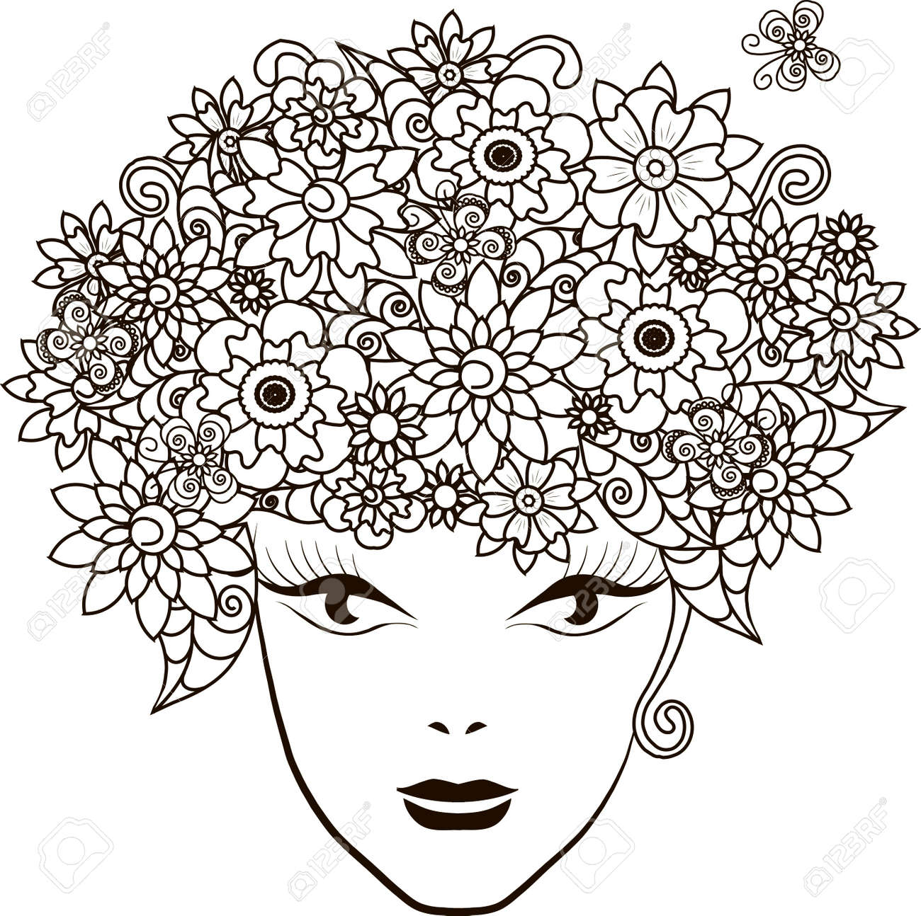 Girl With Flowers Hair, Coloring Page Anti-stress Vector ...