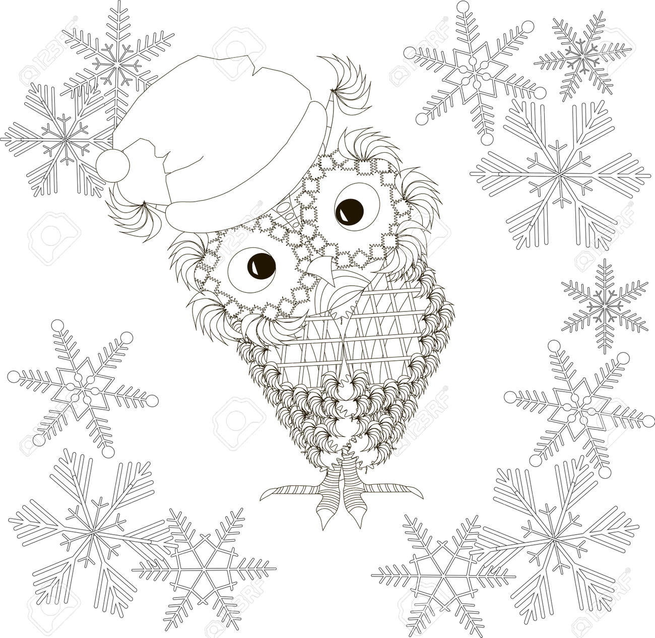 Owl In Santa Claus Hat, Snow-flakes, Coloring Page Anti Stress ...