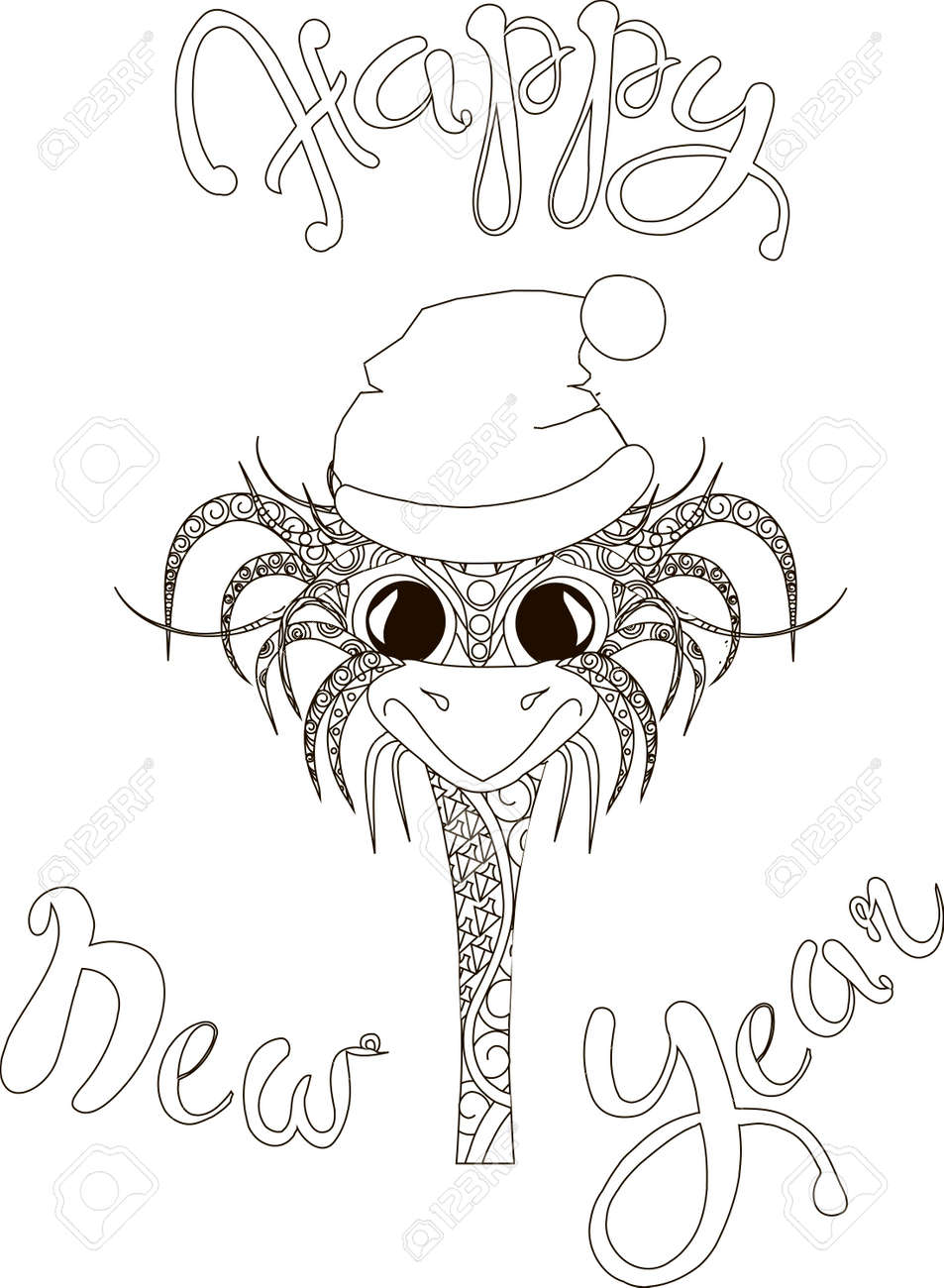Letras Feliz Año Nuevo Mano Dibujar Gallo Lindo Ilustración De