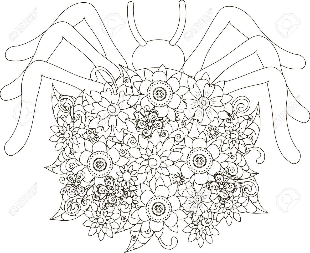 Blüht Die Spinne Und Malt Anti-stress Vektorillustration