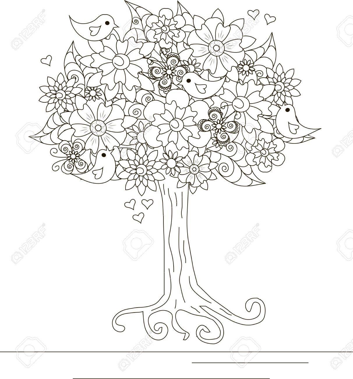 Coloriage Arbre Et Oiseau.Arbre En Fleurs Avec Amour Des Oiseaux Et Des Papillons Pour Livre A