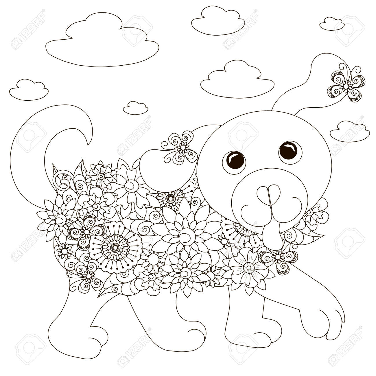 Coloriage Anti Stress Chien.Fleurs Chien Coloriage Anti Stress Vector Illustration Stock Clip