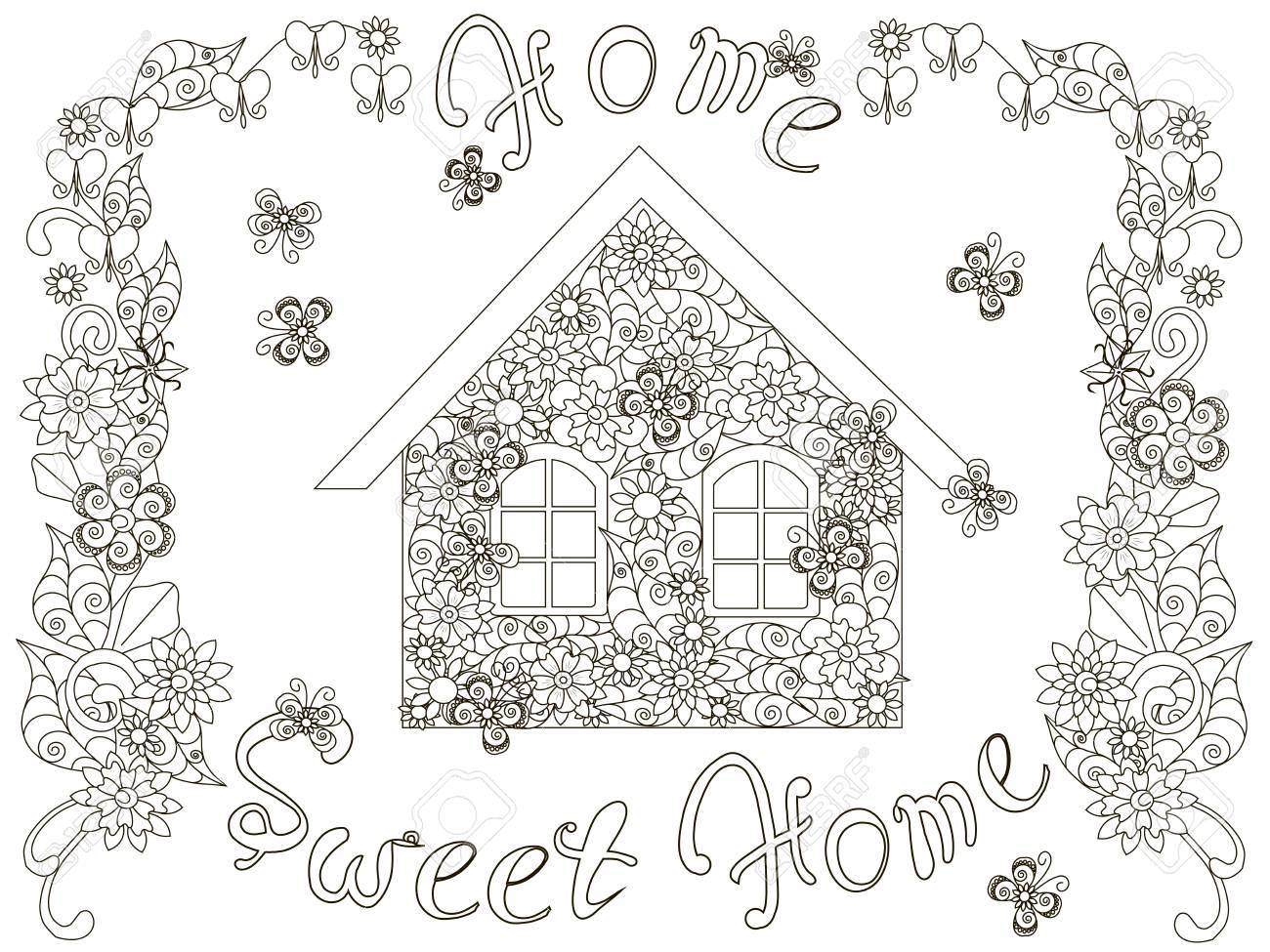 Casa De Flores Com Letras Home Sweet Home E Moldura Floral Para