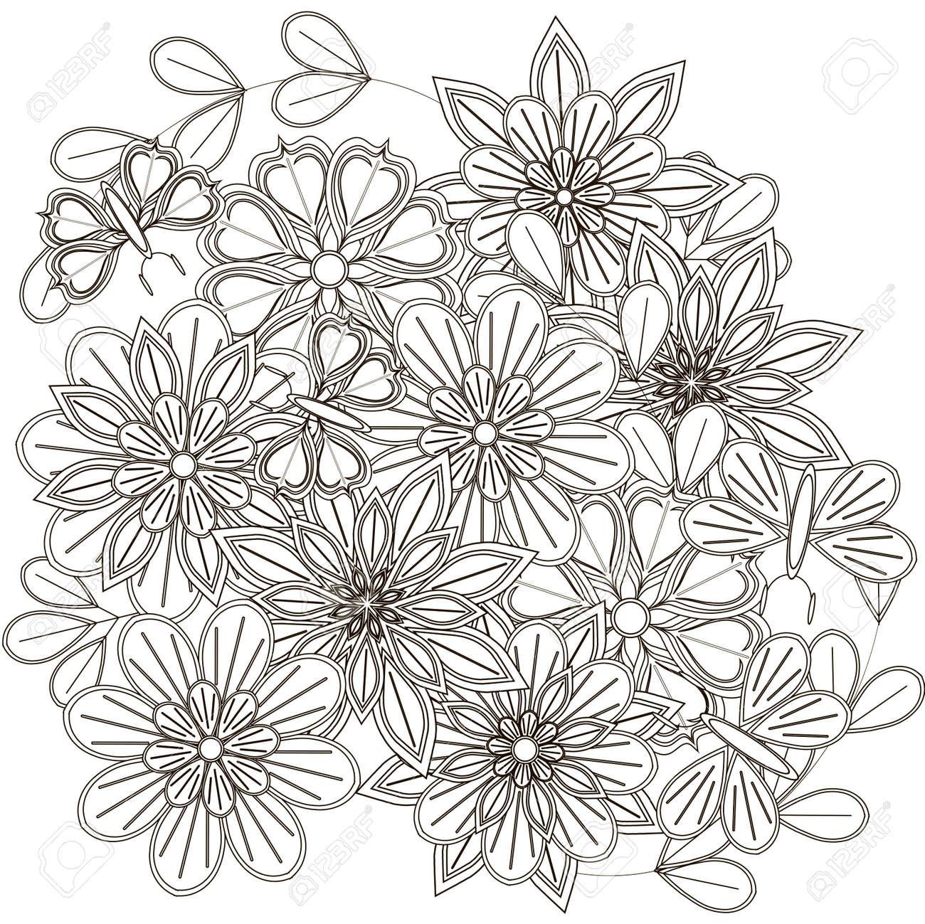 Croquis Noir Et Blanc De Bouquet Fleurs Stylisées Et Papillons Pour Anti Stress Page De Coloriage Illustration Vectorielle Stock