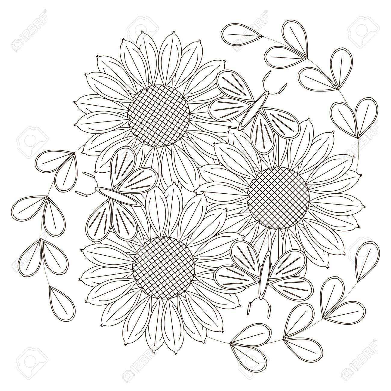 Bosquejo Blanco Y Negro De Girasoles Flores Estilizadas Y Mariposas