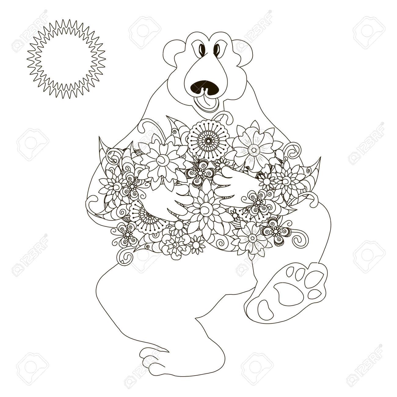 Bär Mit Blumen Malvorlage Anti-Stress Stock Vektor-Illustration ...