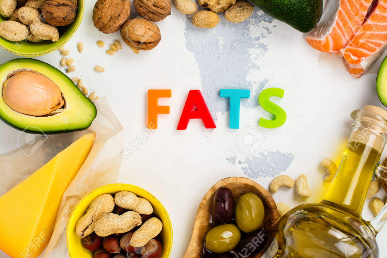Unsaturated fats. Sources of fats good for health. Top view - 77407254