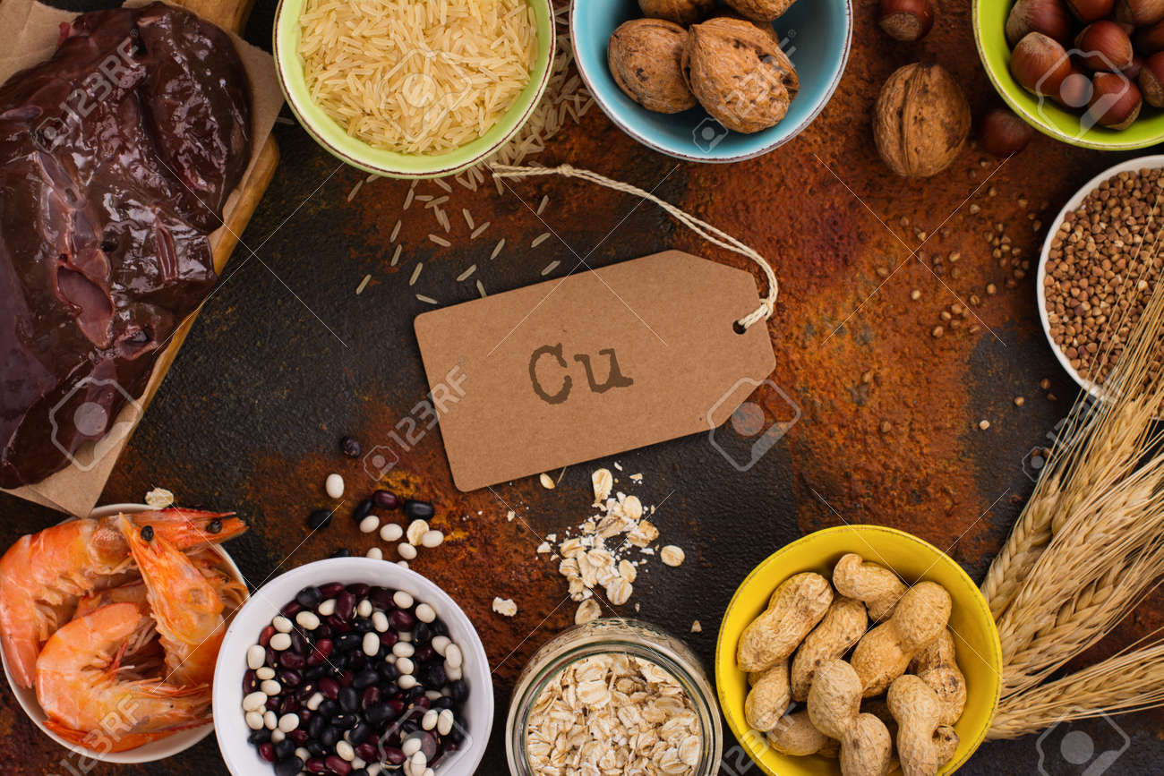 Food rich of copper (Cu). Healthy diet for high hemoglobin, against varicose and anemia. Top view - 77407798