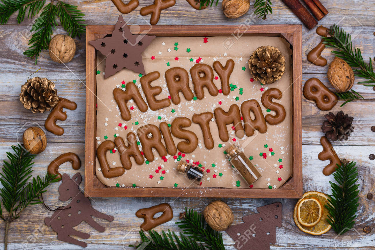 Christmas Cookies On Wooden Tray Letters Merry Christmas And
