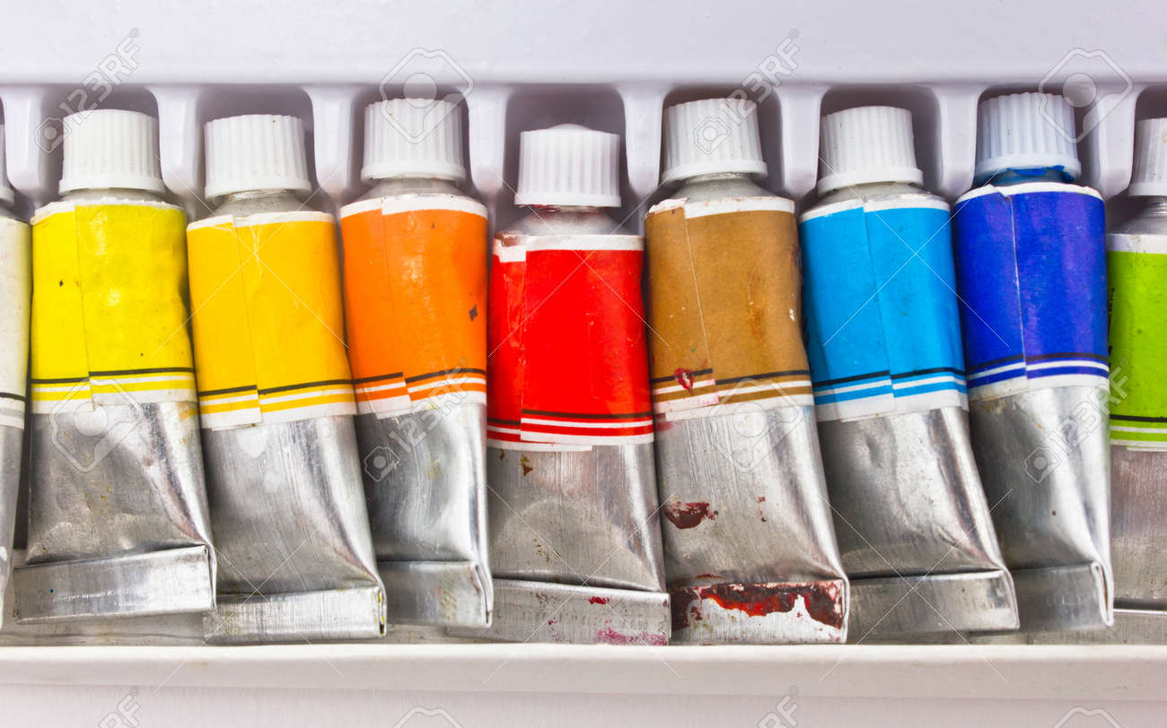 Water color tubes in container Stock Photo - 16396561