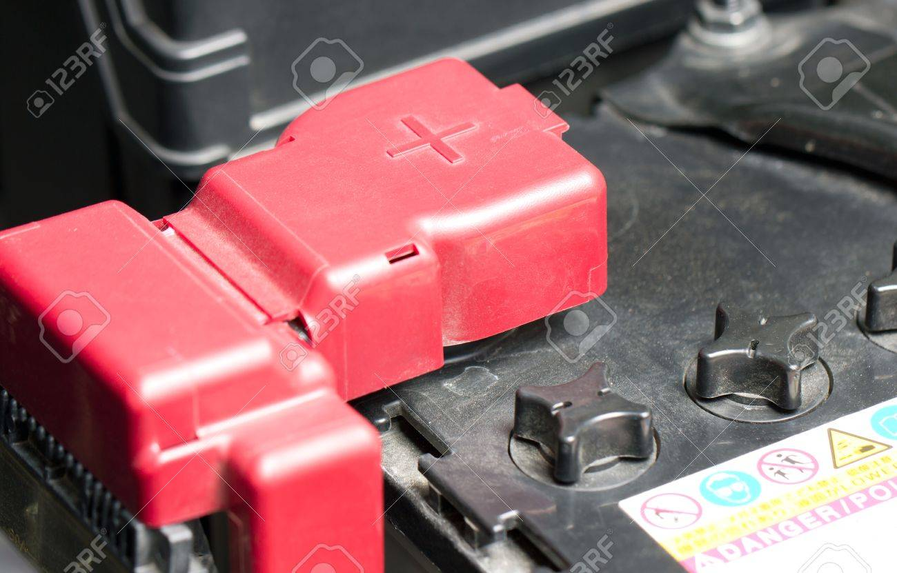 Car Battery With Red Positive Polarity Stock Photo Picture And