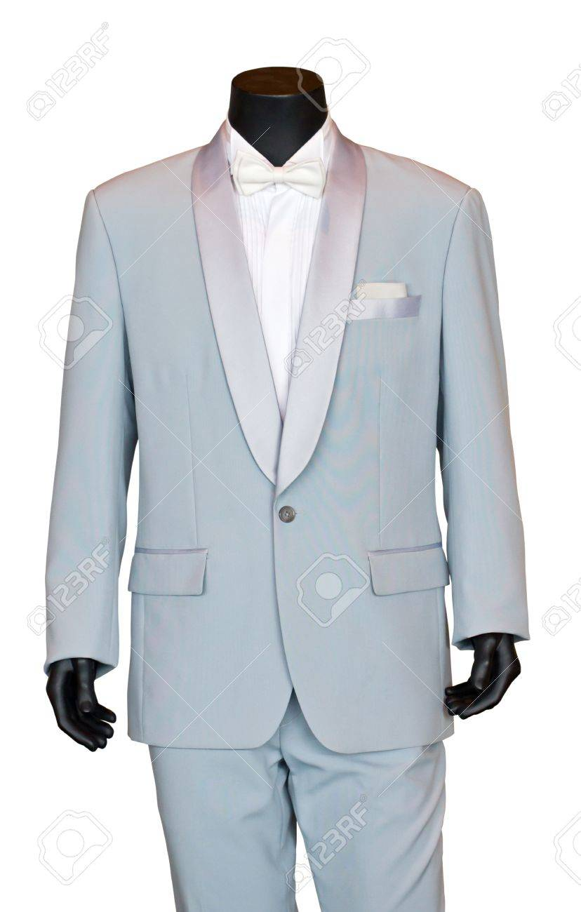 Groom S Wedding Suit On A Mannequin Isolated On White Stock Photo ...