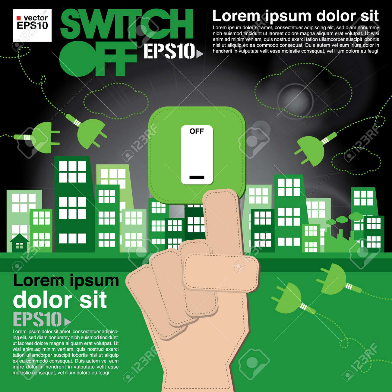 Switch off, sustainable development concept Stock Vector - 21222328