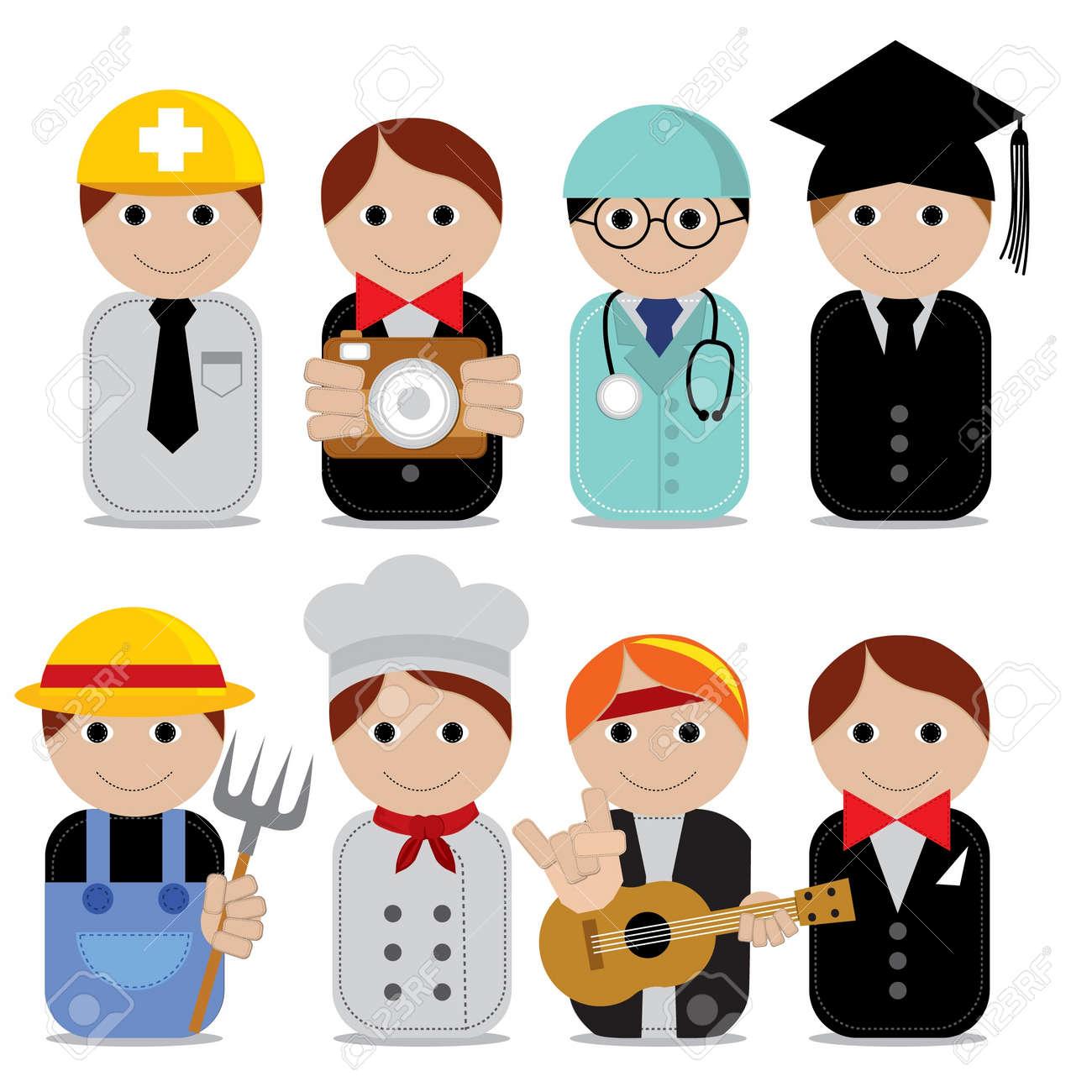 Ilustración Del Vector Conjunto De Iconos De Ocupaciones De Personas Eps10