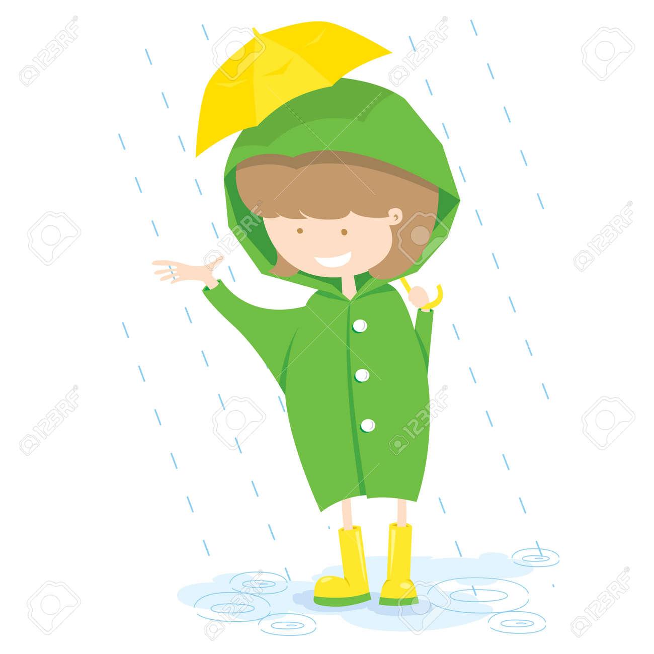 Little Girl In Rainy Day Vector Illustration Stock Vector - 22639361