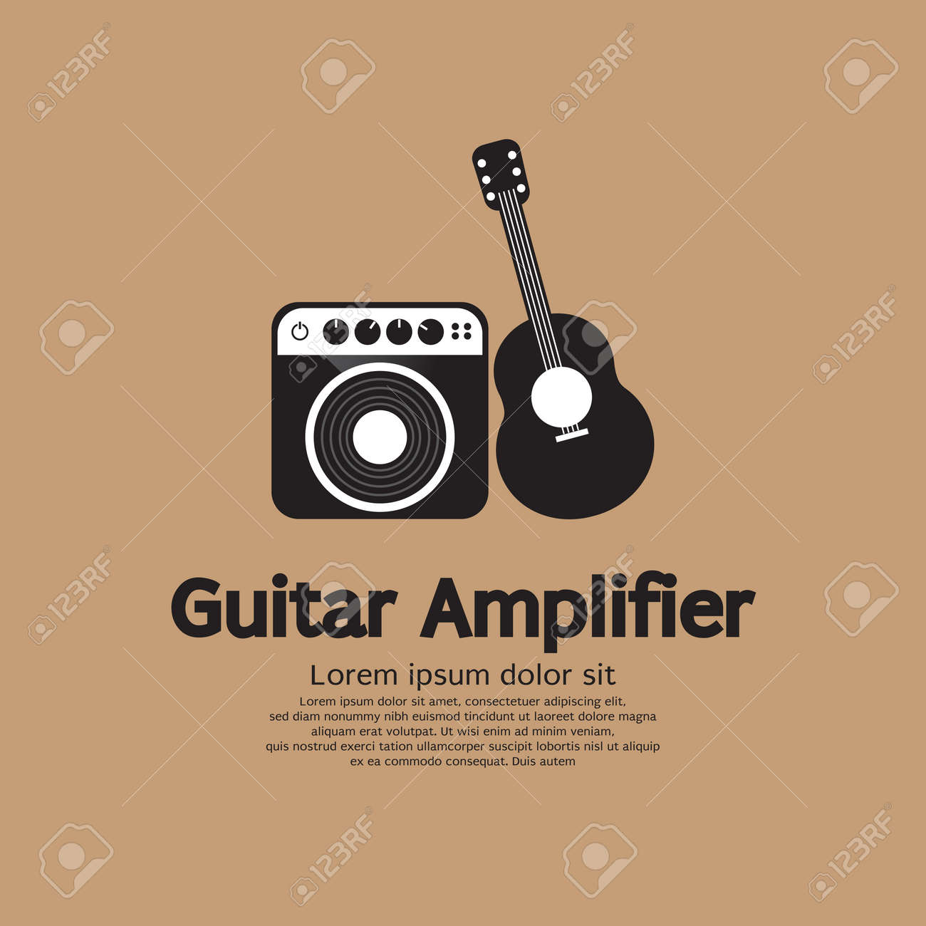 Guitar And Amplifier Vector Illustration Royalty Free Cliparts ...