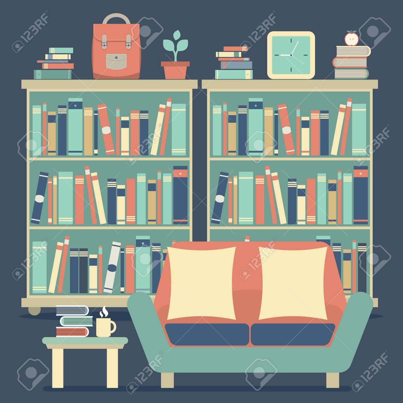 Modernes Design-Innenraum Stühle Und Bücherregal Lizenzfrei Nutzbare ...