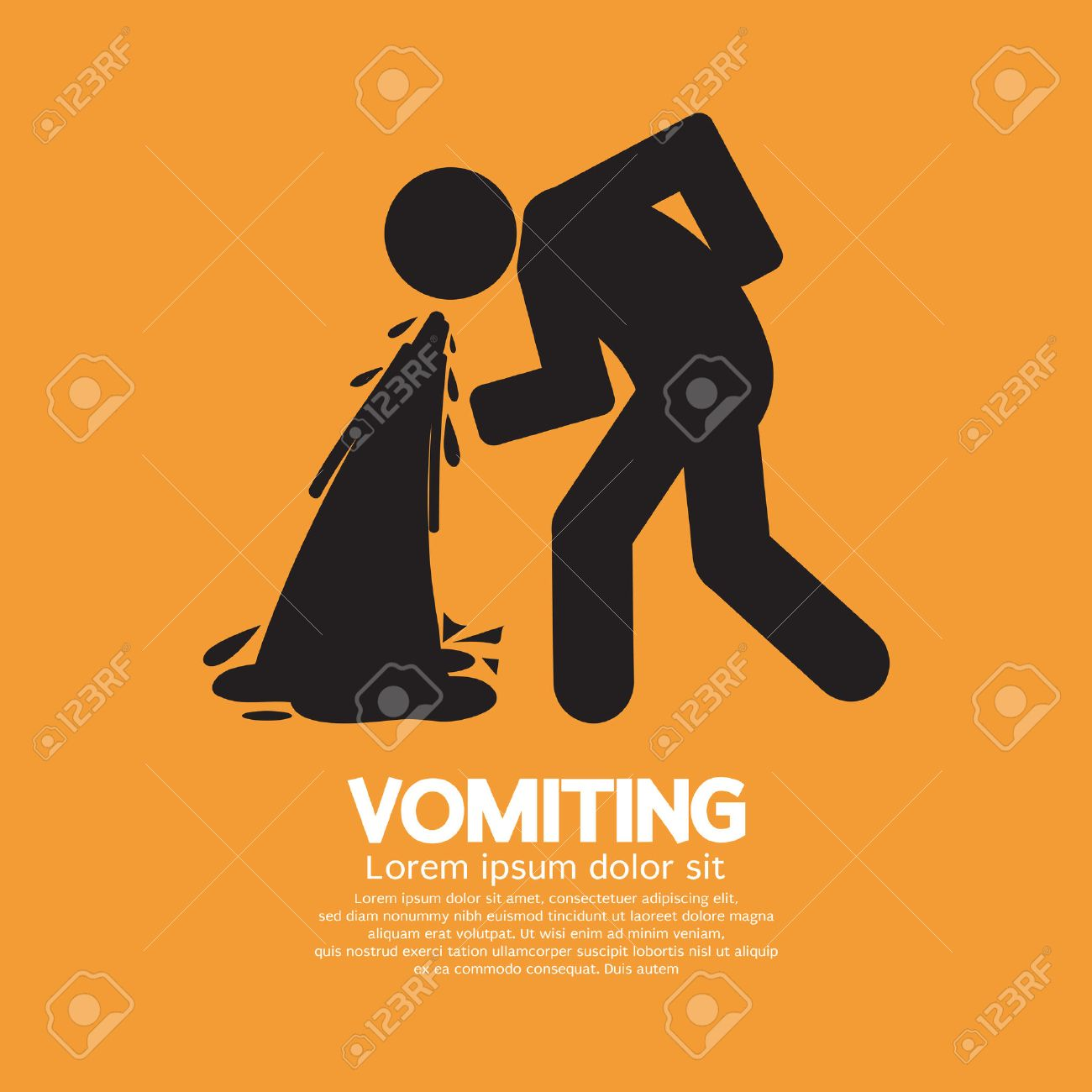 Vomiting Person Graphic Symbol Vector Illustration - 30930046