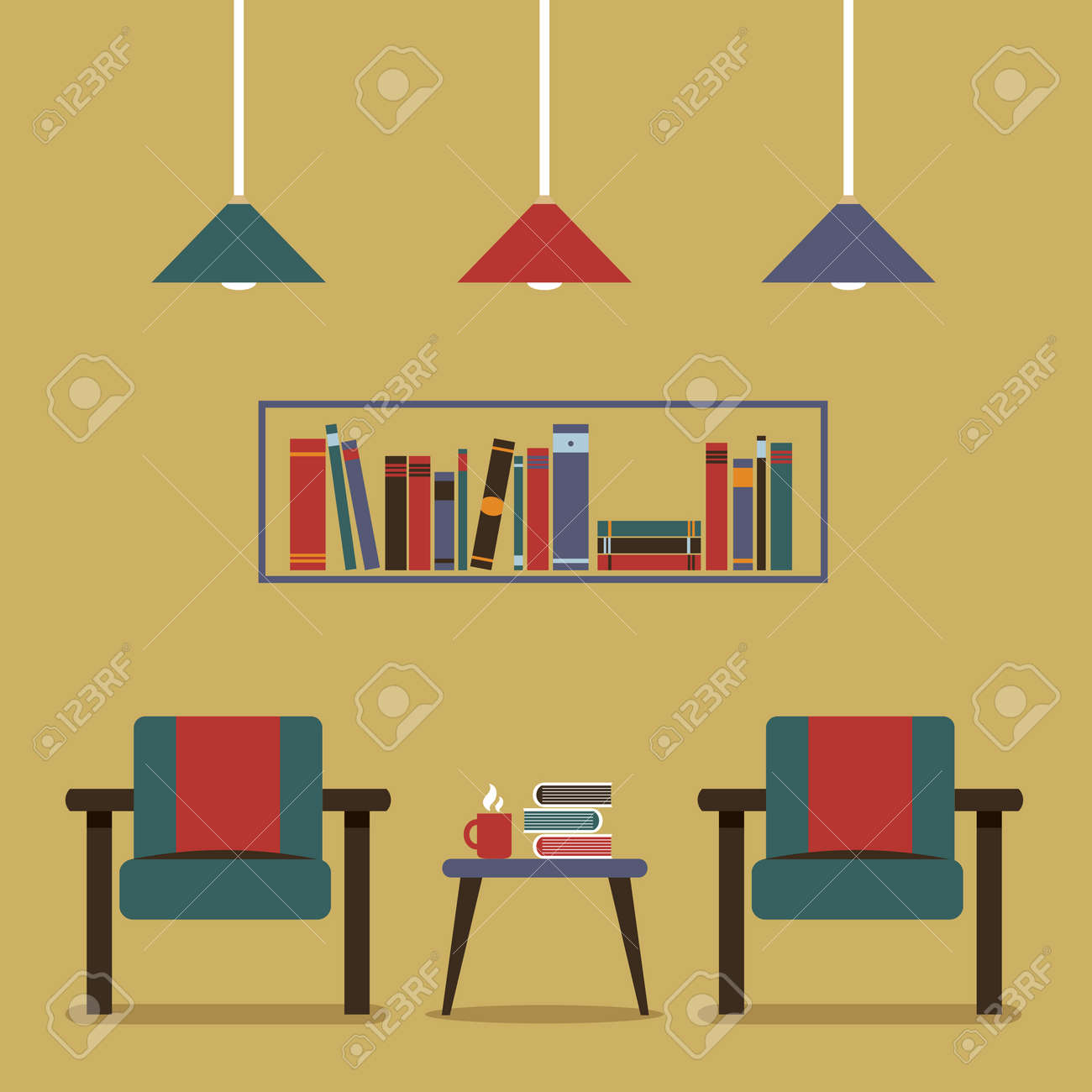 Modernes Design Innenraum Stuhle Und Bucherregal Lizenzfrei Nutzbare