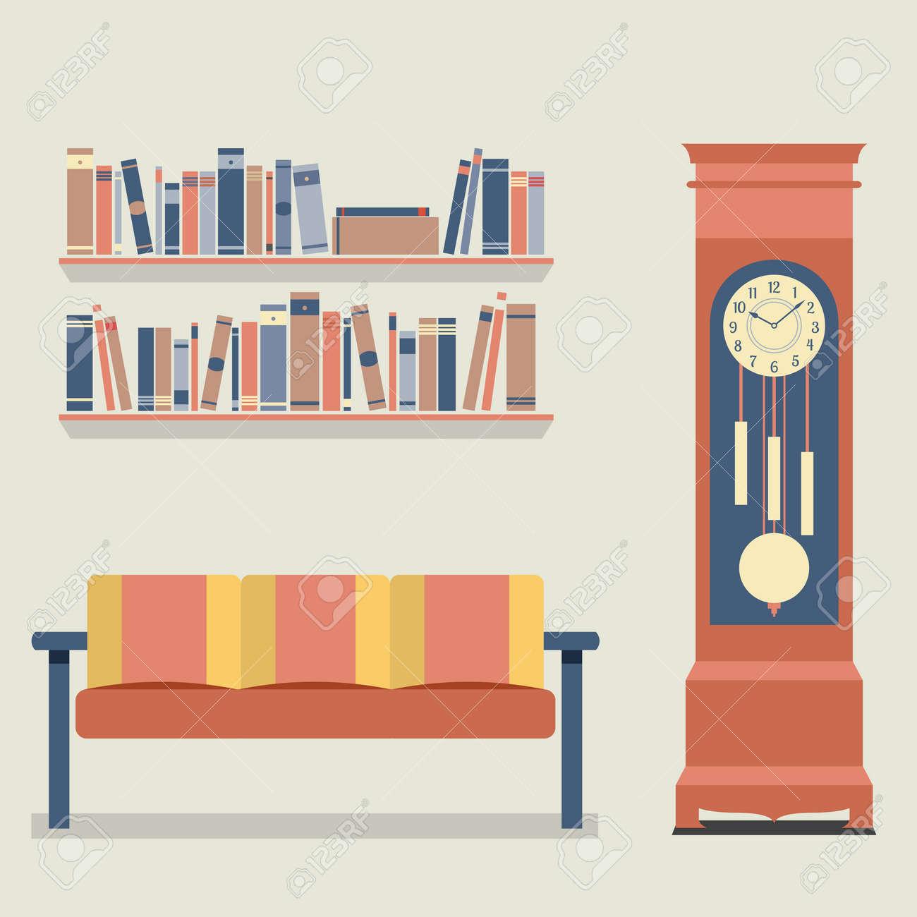 Living Room Interior Design Vector Illustration Stock