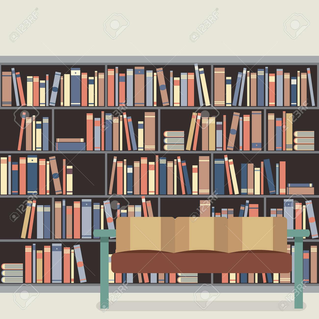 lectura asiento delante de un estante para
