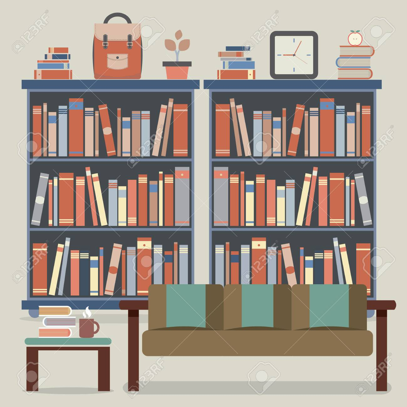 Modern Design Interior Sofa And Bookshelf Royalty Free Cliparts ...