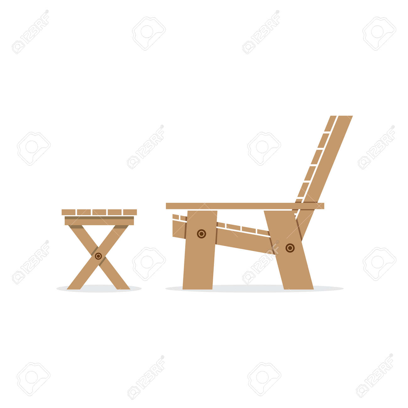 Garden chair top view - Side View Of Wooden Garden Chair And Table Vector Illustration Stock Vector 32836553