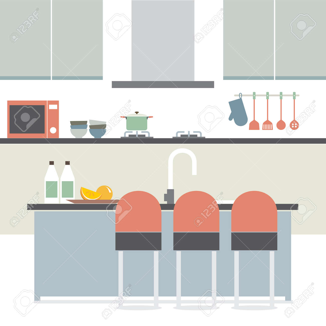 Modern Flat Design Kitchen Interior Illustration Royalty Free