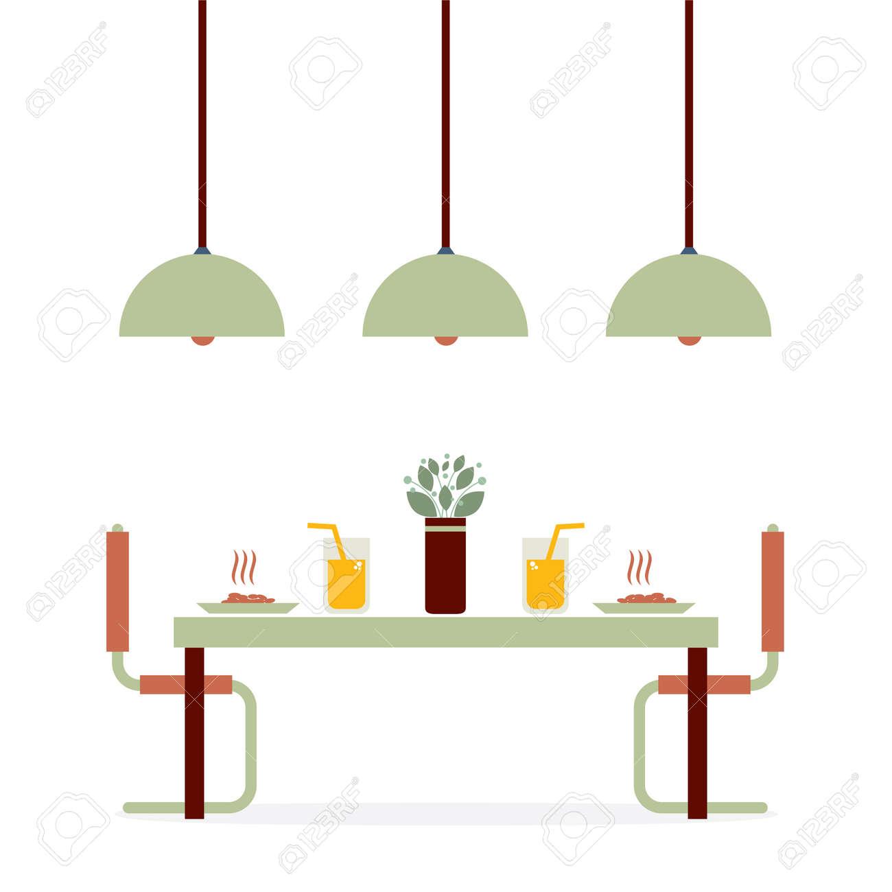 Exceptional Flat Design Interior Dining Room Vector Illustration Stock Vector   33754239