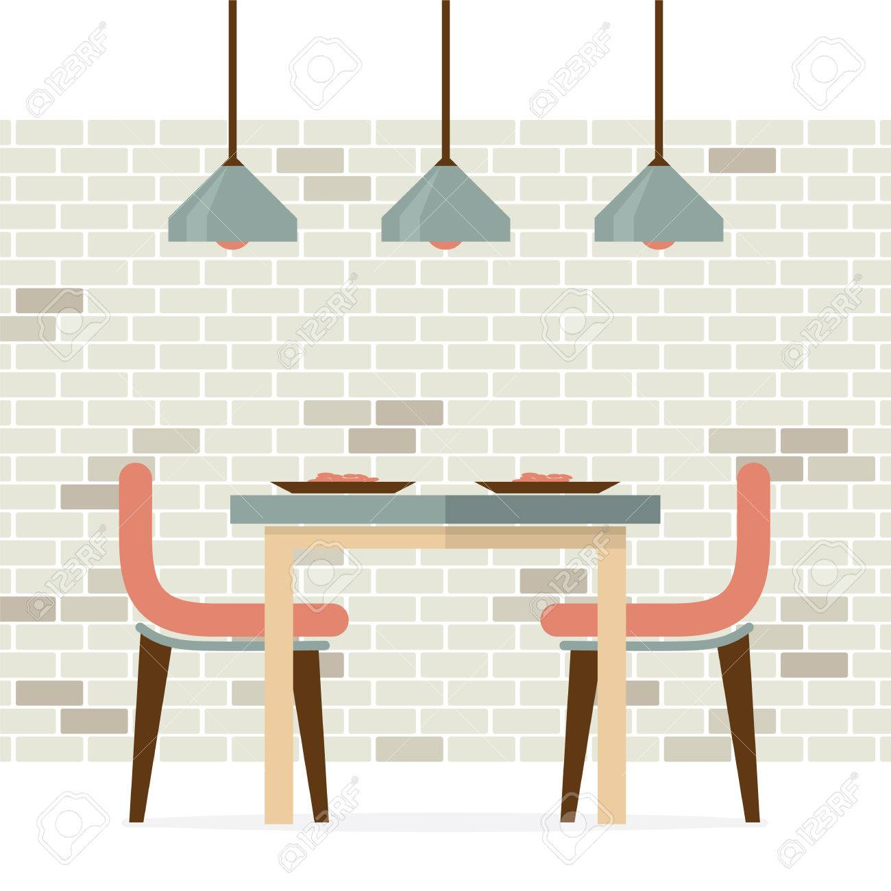 Flat Design Interior Dining Room Vector Illustration Stock