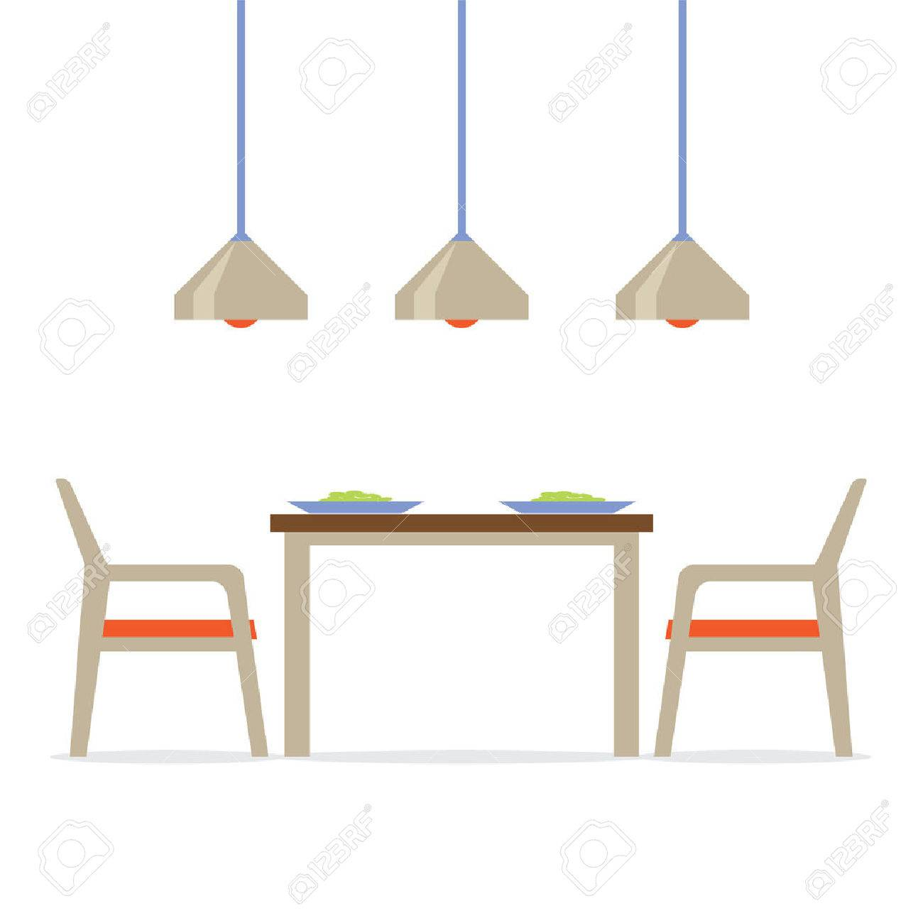 Awesome Flat Design Interior Dining Room Vector Illustration Stock Vector   34609145