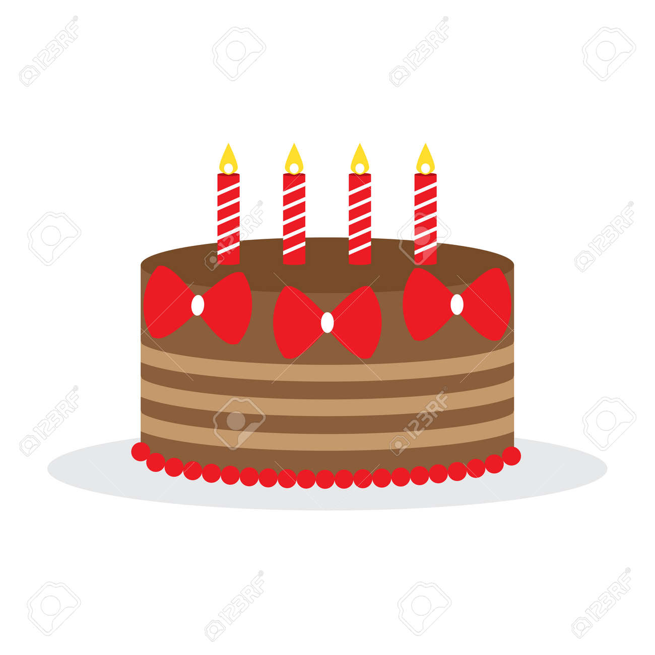 Fantastic Chocolate Cake With Red Ribbon And Candles Vector Illustration Funny Birthday Cards Online Inifofree Goldxyz