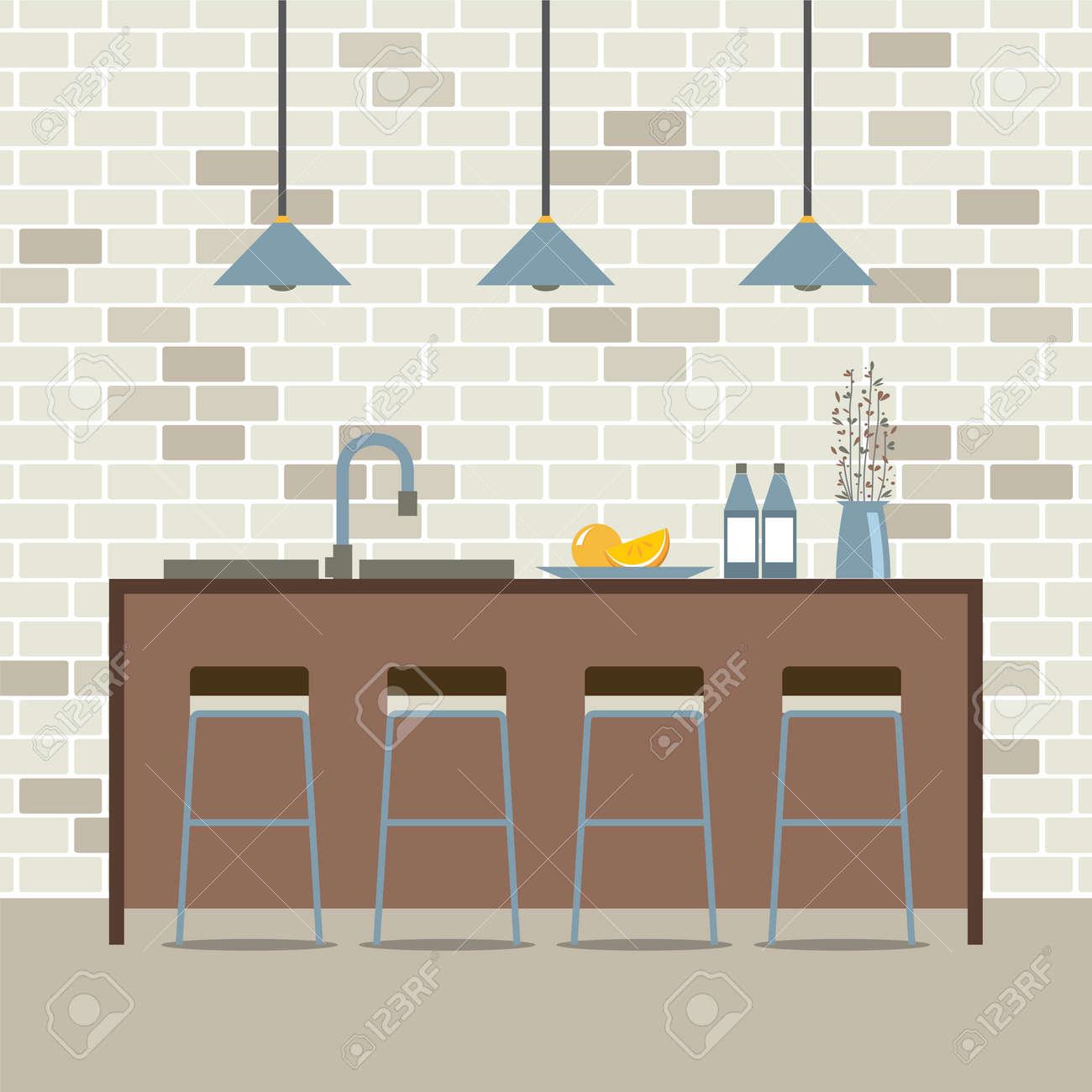 Modern Flat Design Kitchen Interior Vector Illustration Royalty Free