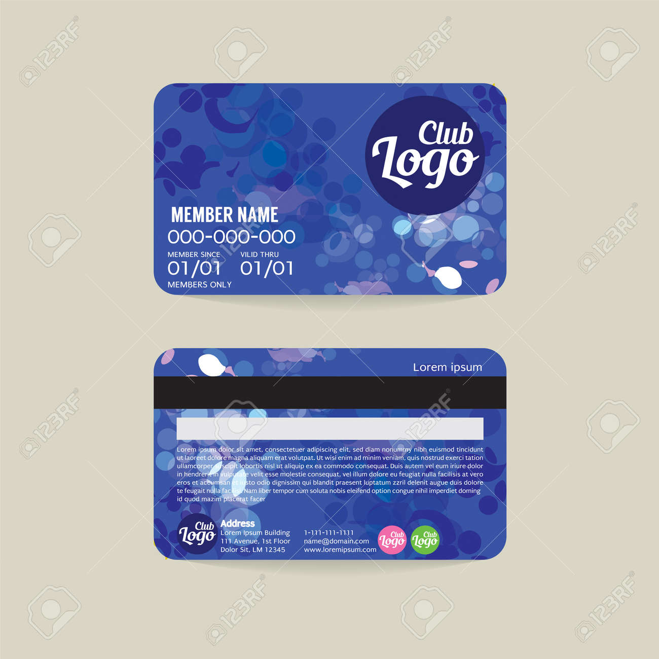 Front And Back Member Card Template Vector Illustration Illustration  Membership Card Template