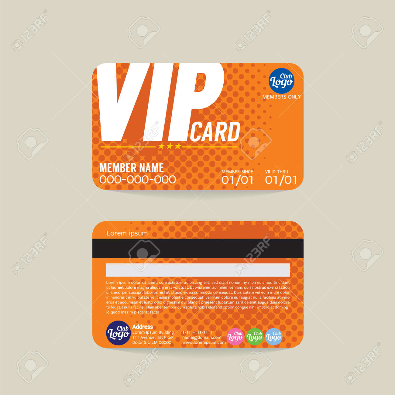 Vorder- Und Rückseite VIP Member-Karte Vorlage Vektor-Illustration ...