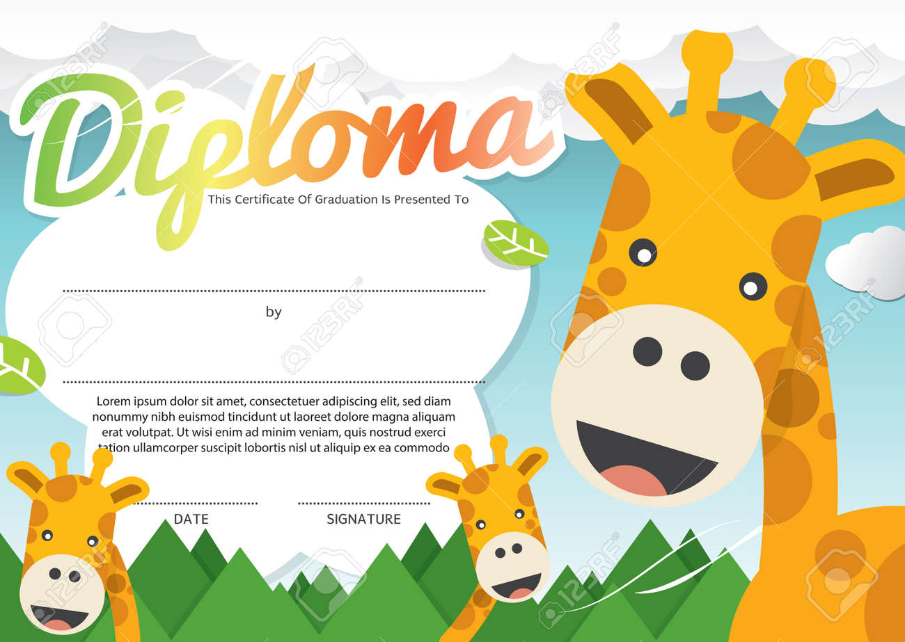 Kids Diploma Certificate Template Vector Illustration Royalty Free ...