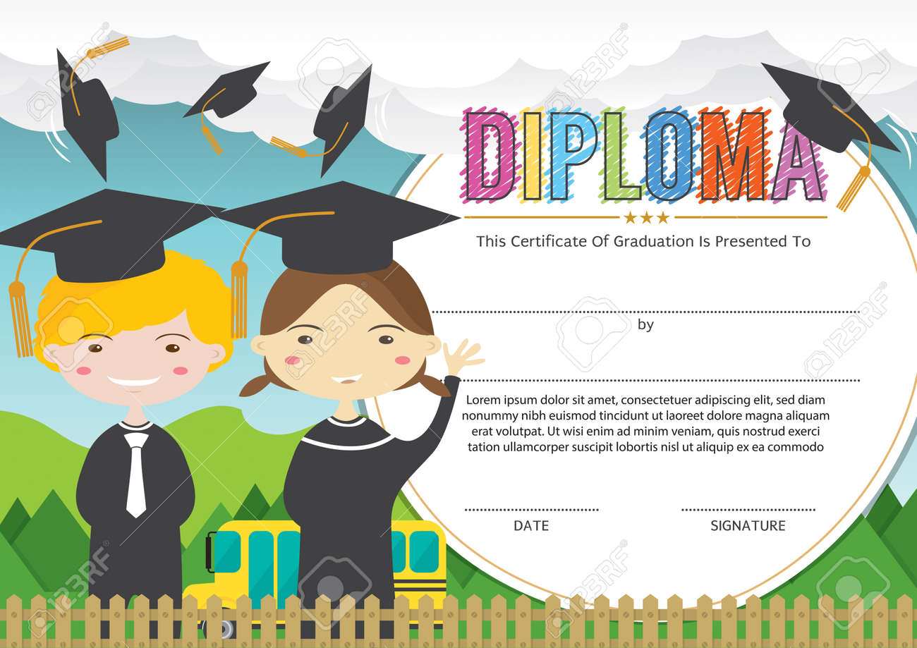 Preschool graduation certificate template 28 first aid incident preschool graduation certificate template elioleracom 61909495 preschool elementary school kids diploma certificate background design template stock yadclub