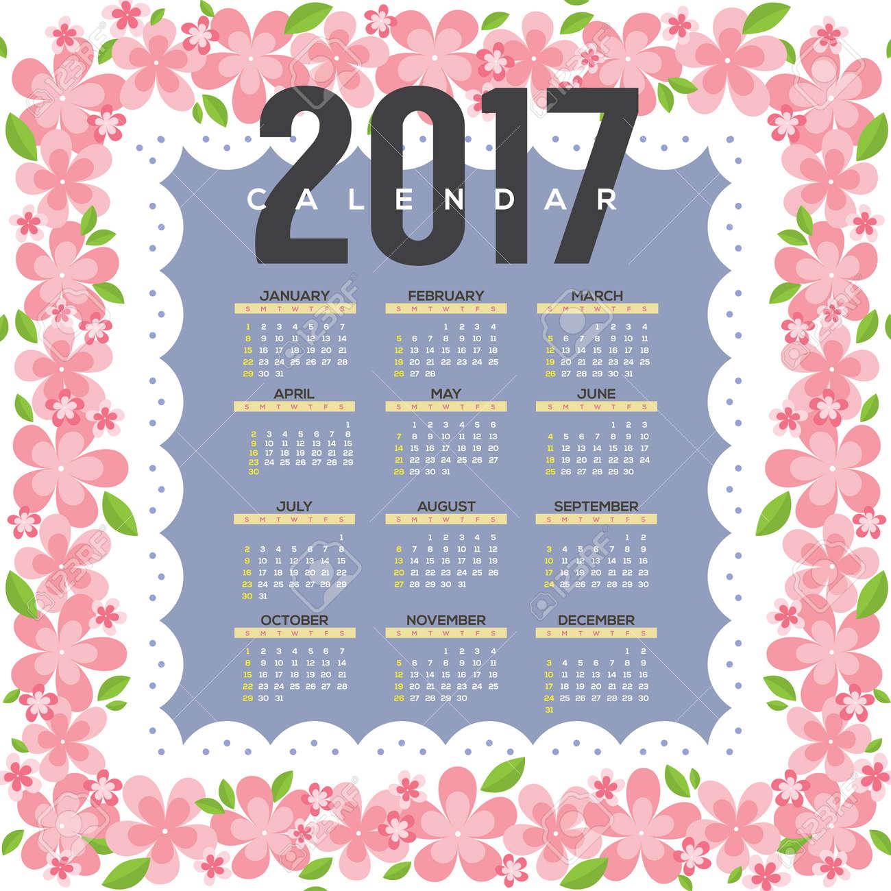 Astonishing 2017 Printable Calendar Starts Sunday Pink Flowers Border Vector Download Free Architecture Designs Scobabritishbridgeorg