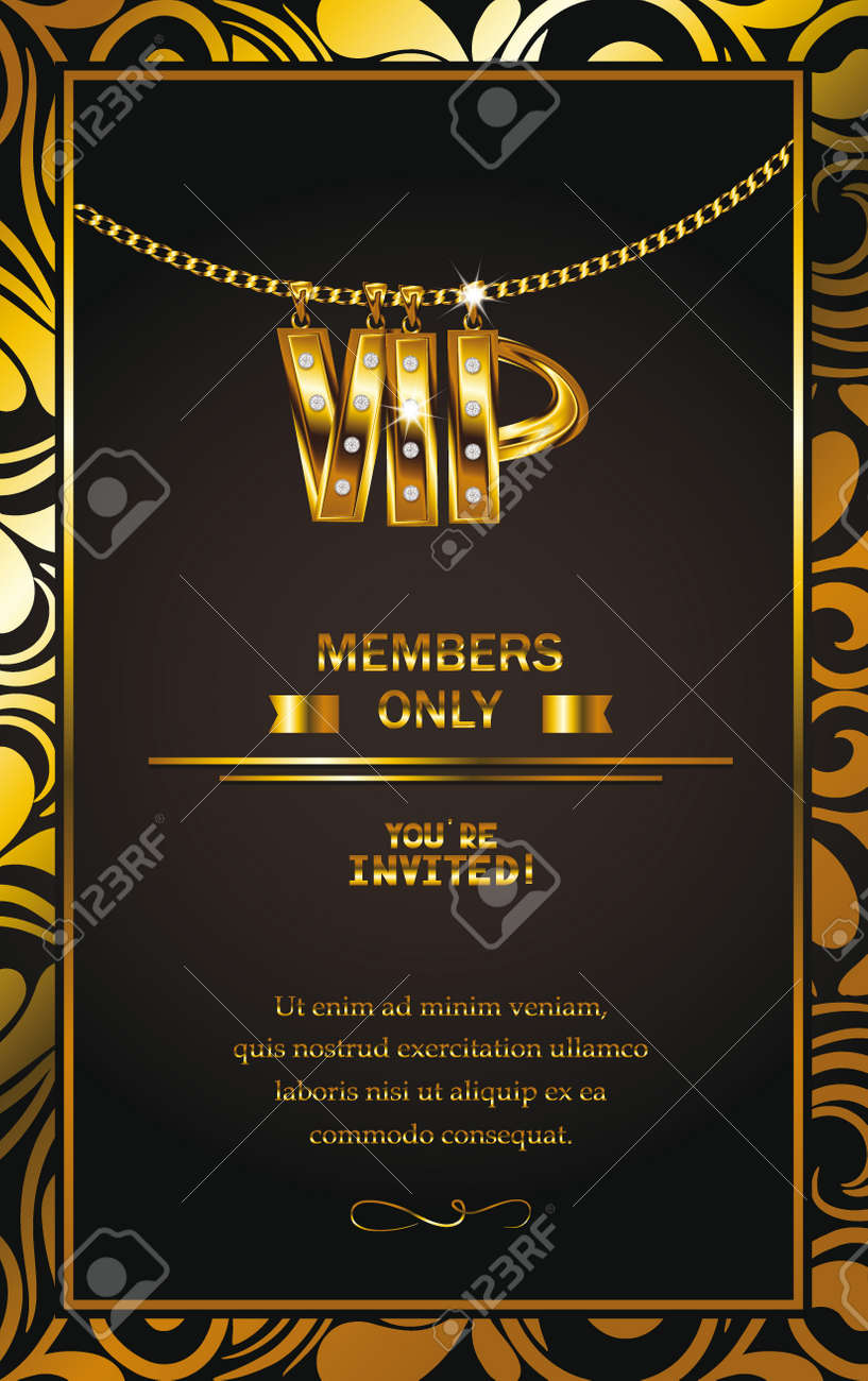 Elegant vip invitation card with gold chain floral design frame elegant vip invitation card with gold chain floral design frame stock vector 39293468 stopboris Gallery