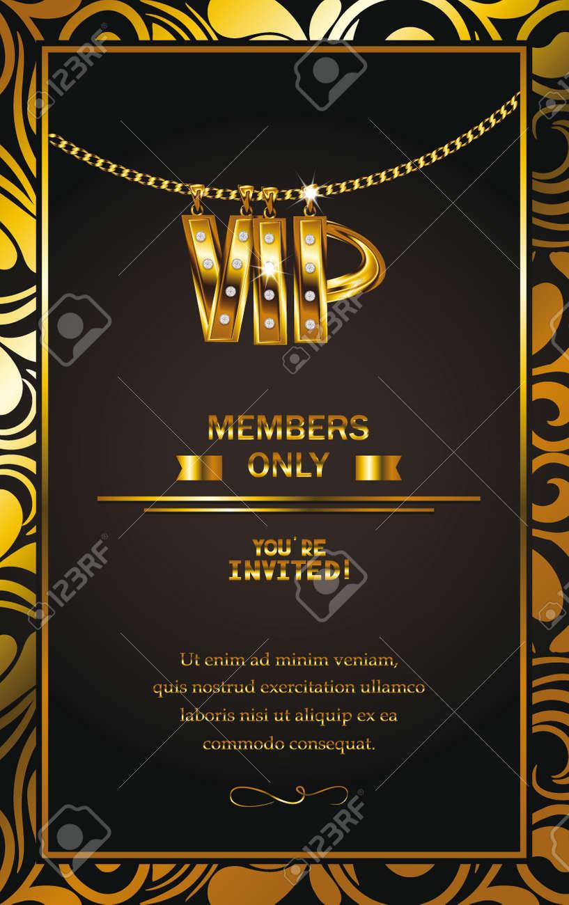 Elegante Tarjeta De Invitación Vip Con Cadena De Oro Del Marco Del Diseño Floral