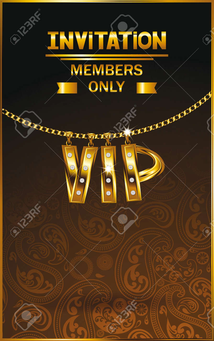 Elegant vip invitation card with gold chain floral design royalty elegant vip invitation card with gold chain floral design stock vector 39293473 stopboris Image collections