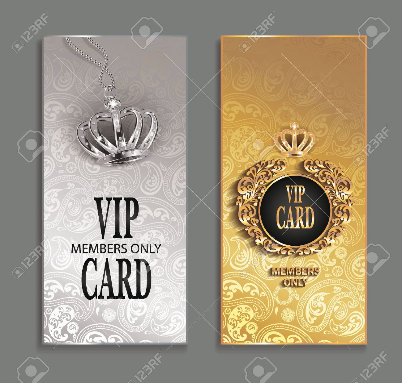 elegant invitation vip cards with floral design royalty free