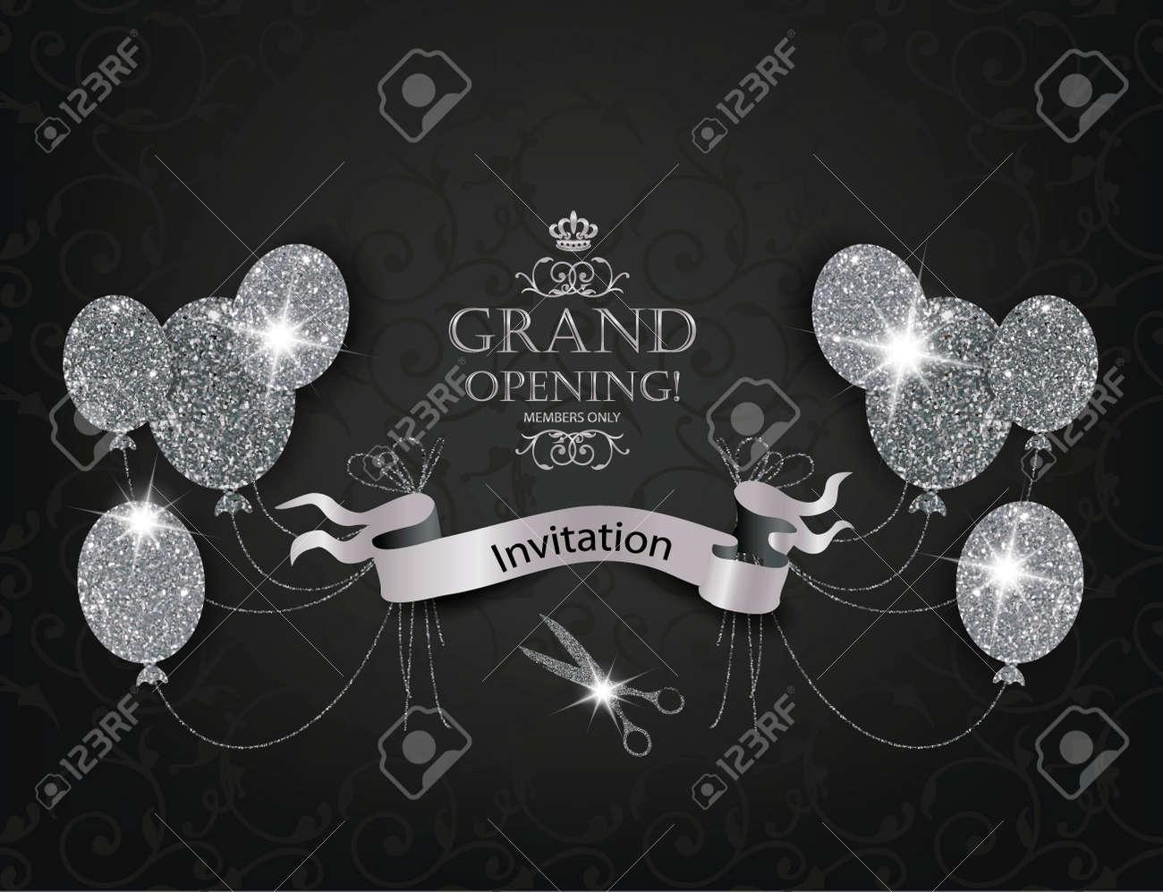 Tarjetas De Invitación Vip Elegante Con Los Balones De Aire Abstracto Tijeras Y Cinta De Plata