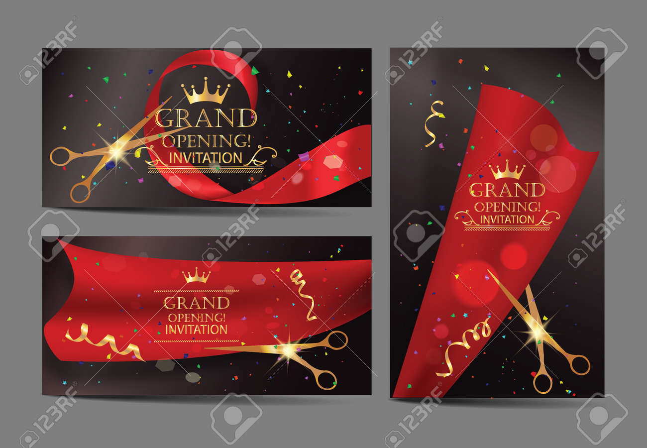 Set of grand opening banners with red ribbons and gold scissors - 53834245