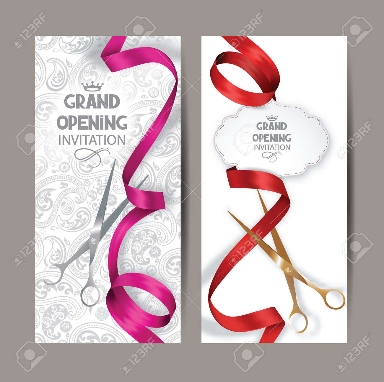 Beautiful grand opening invitation cards with red and pink silk ribbons and floral background - 55364998