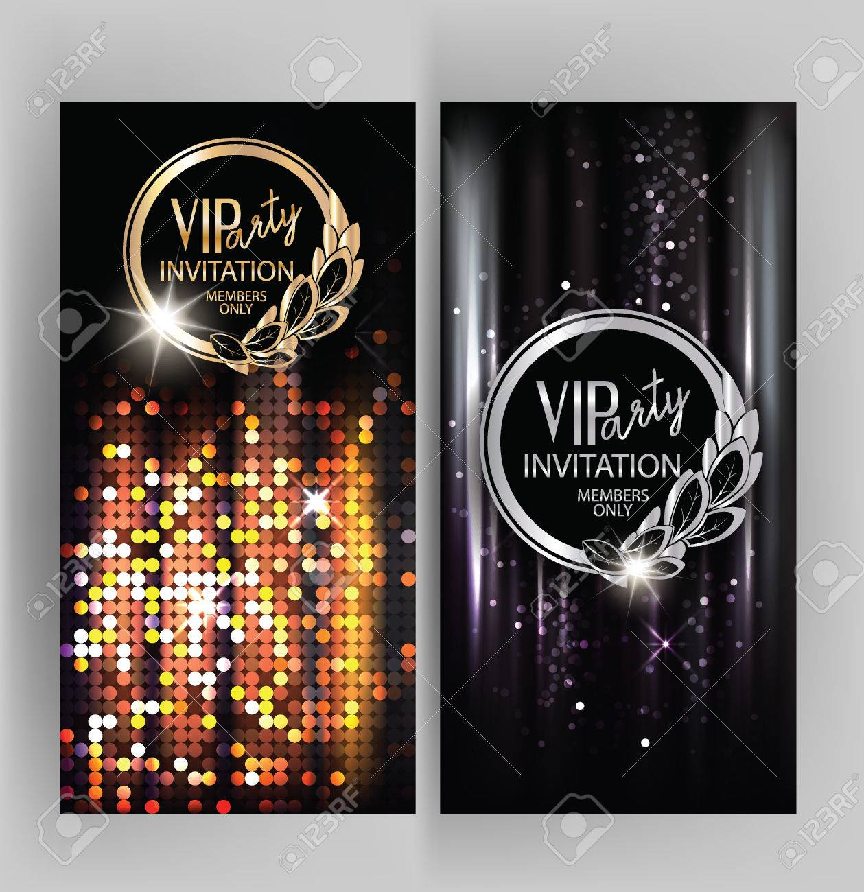 VIP Party Invitation Card With Abstract Sparkling Background Stock ...