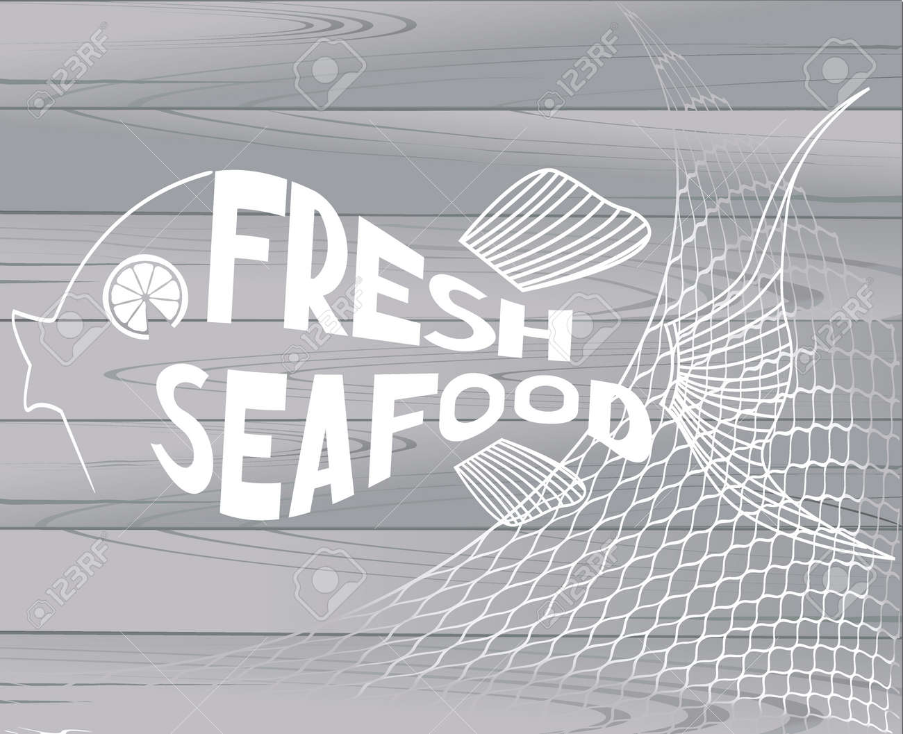 seafood restaurant menu title pages with abstract fish and wooden
