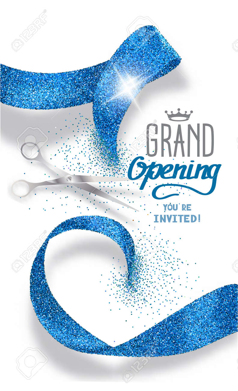 Grand opening banner with abstract blue abstract ribbon and scissors - 55938678