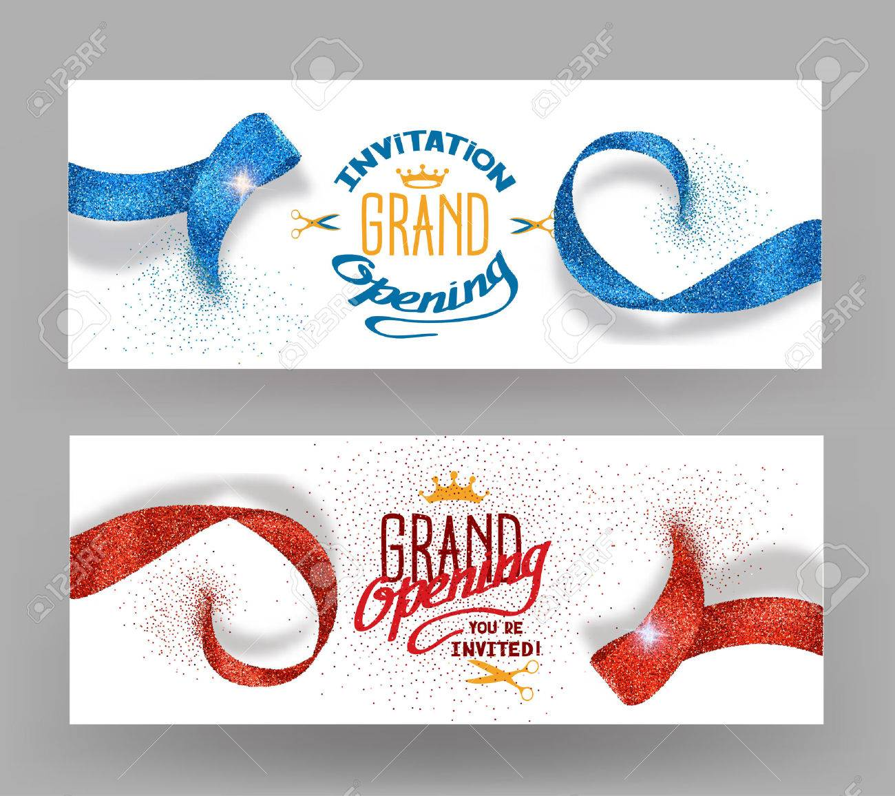Grand opening banners with abstract red and blue ribbons - 55939154