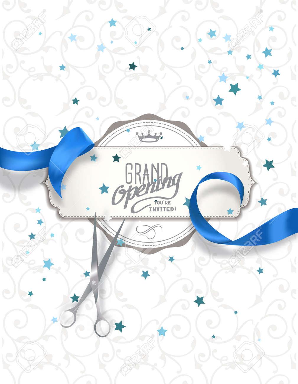 Tarjeta De Invitación De Inauguración Con La Cinta De Seda Azul Y Tijeras